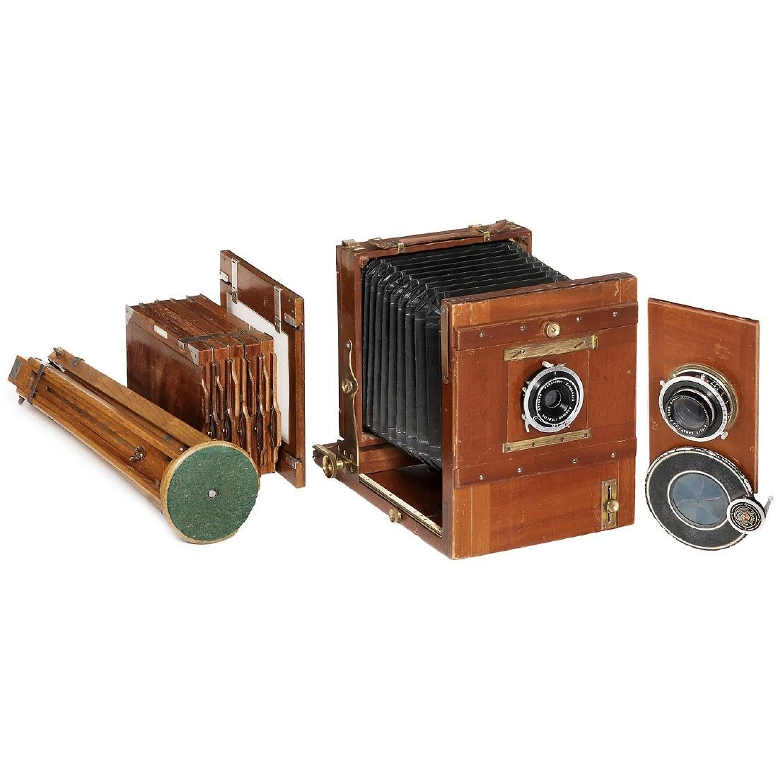 German Field Camera with 2 Lenses, c. 1890-1900