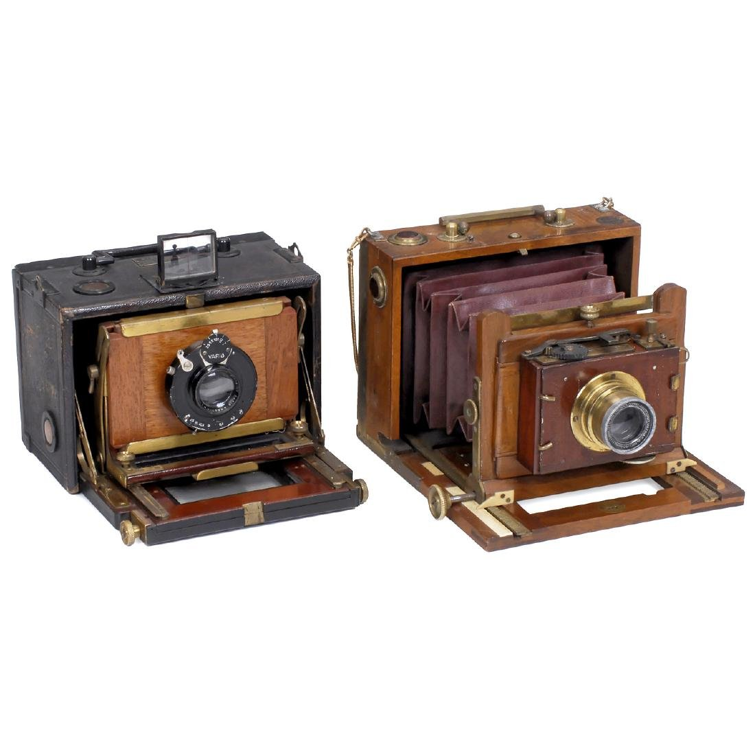 2 French Folding-Plate Cameras, c. 1890-1900