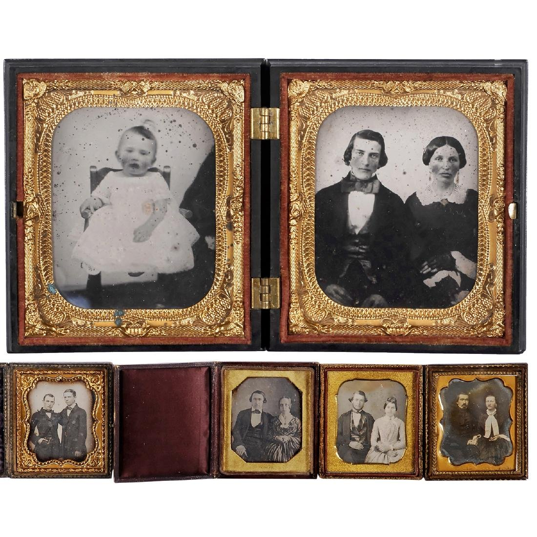 Union Case with Ambrotype and 4 Daguerreotypes, c.