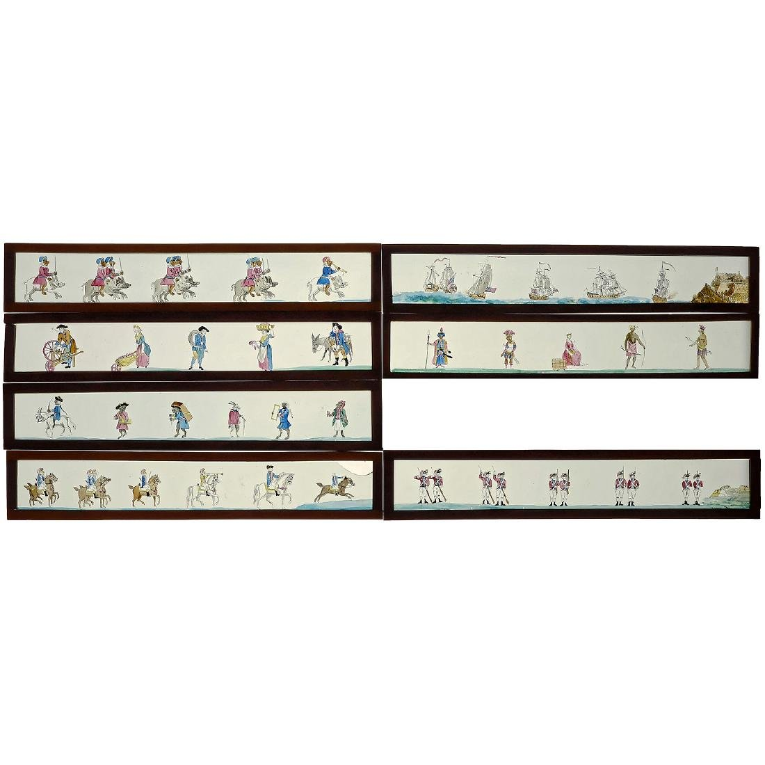 7 Hand-Painted Panoramic Lantern Slides 3 ½ x 19 in.,