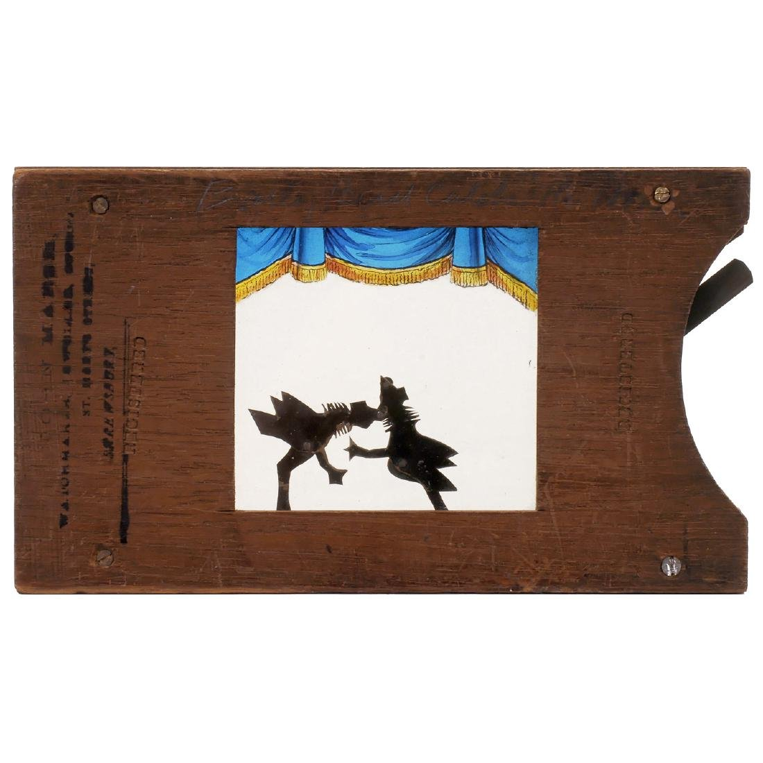 """Mechanical Silhouette Slide """"Cock-Fight"""", c. 1870-80"""