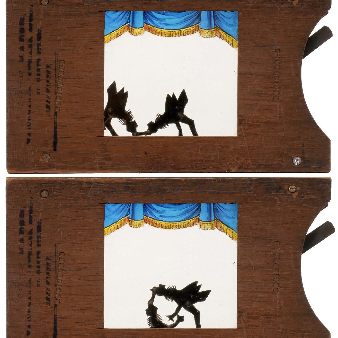"""Mechanical Silhouette Slide """"Cock-Fight"""", c. 1870-80 - 2"""