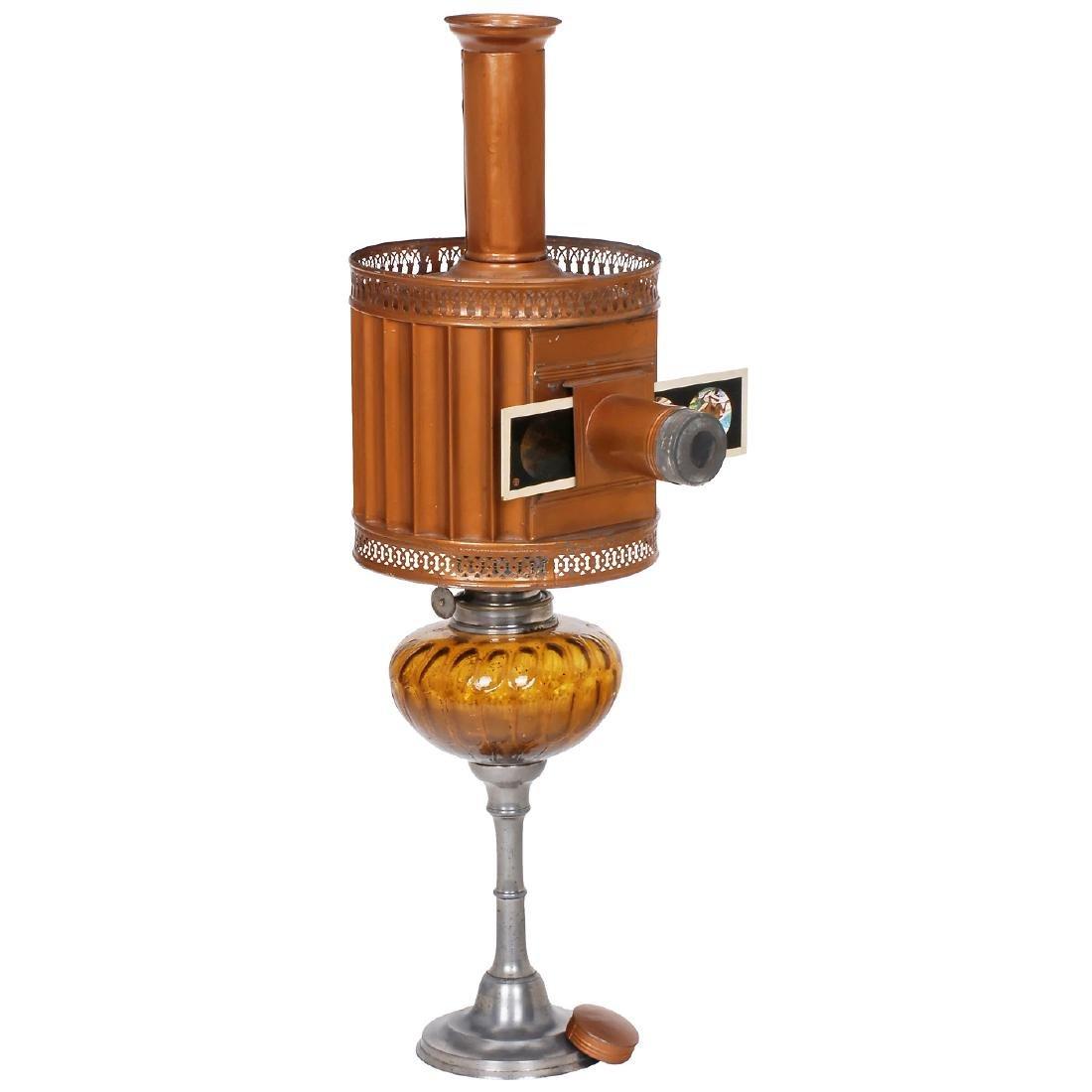 """Copper-Colored """"Rainurrée"""" Magic Lantern by Aubert, c."""