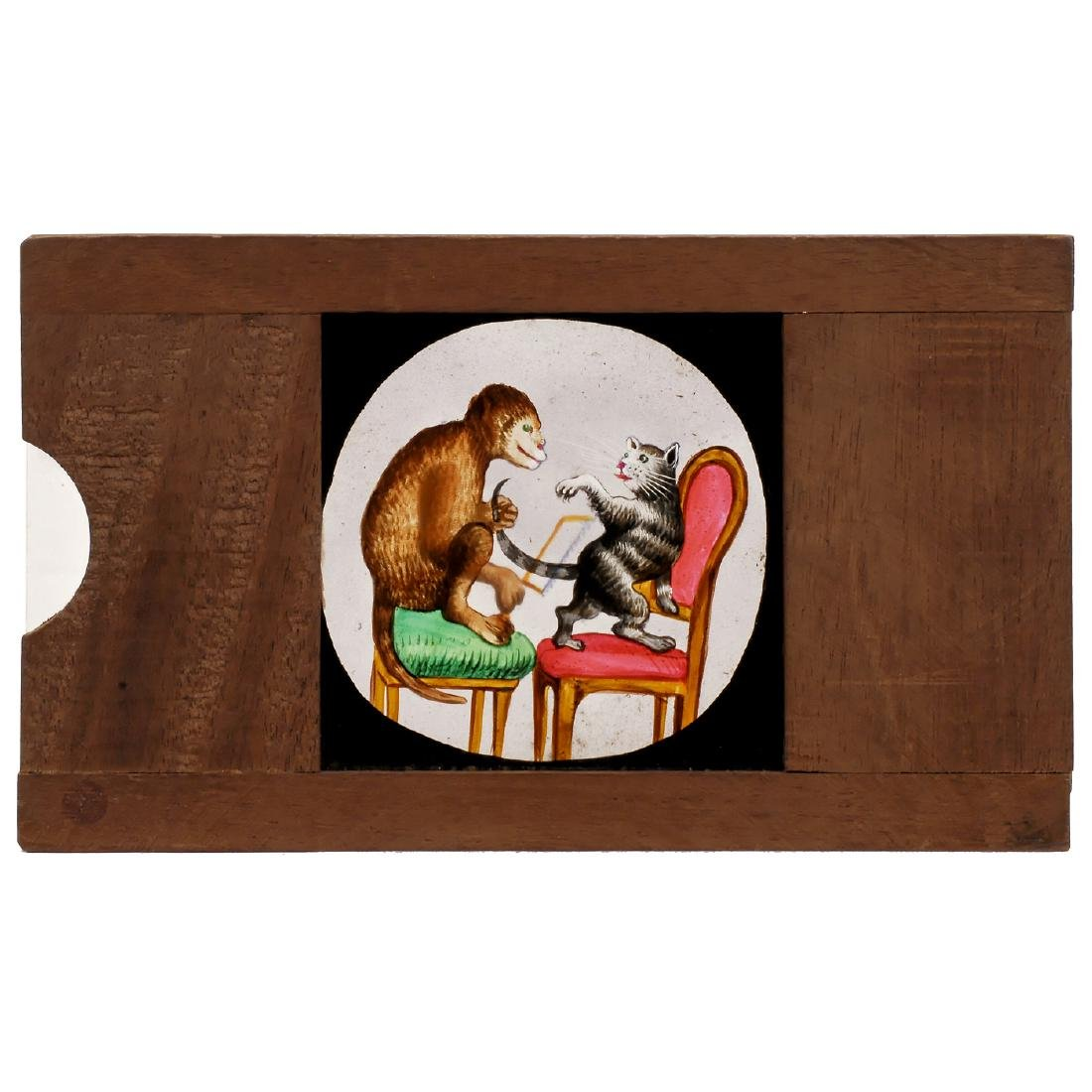 Single Rackwork Slide: Monkey and Cat, c. 1870-80