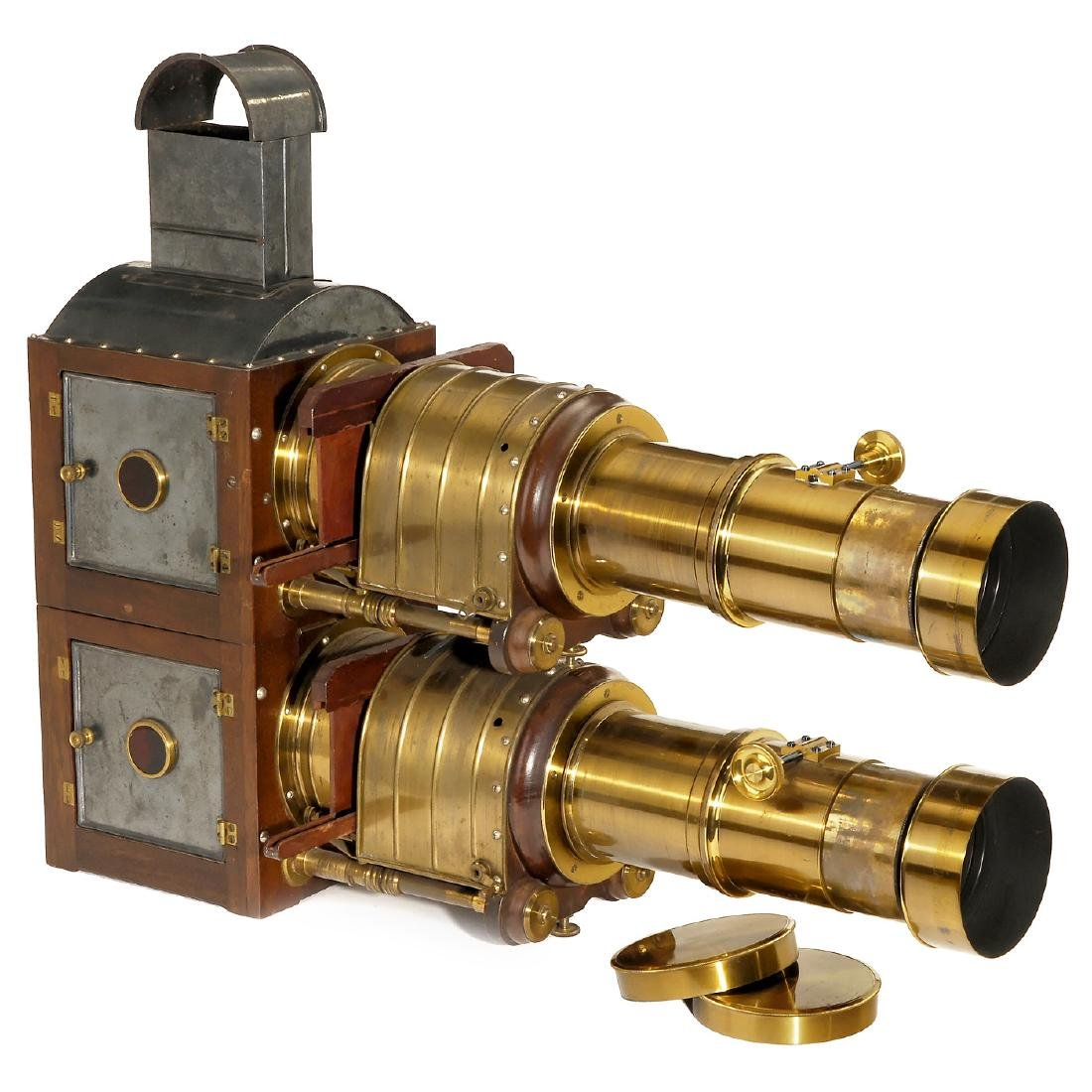 Biunial Magic Lantern with Petzval-Type Darlot Lenses,