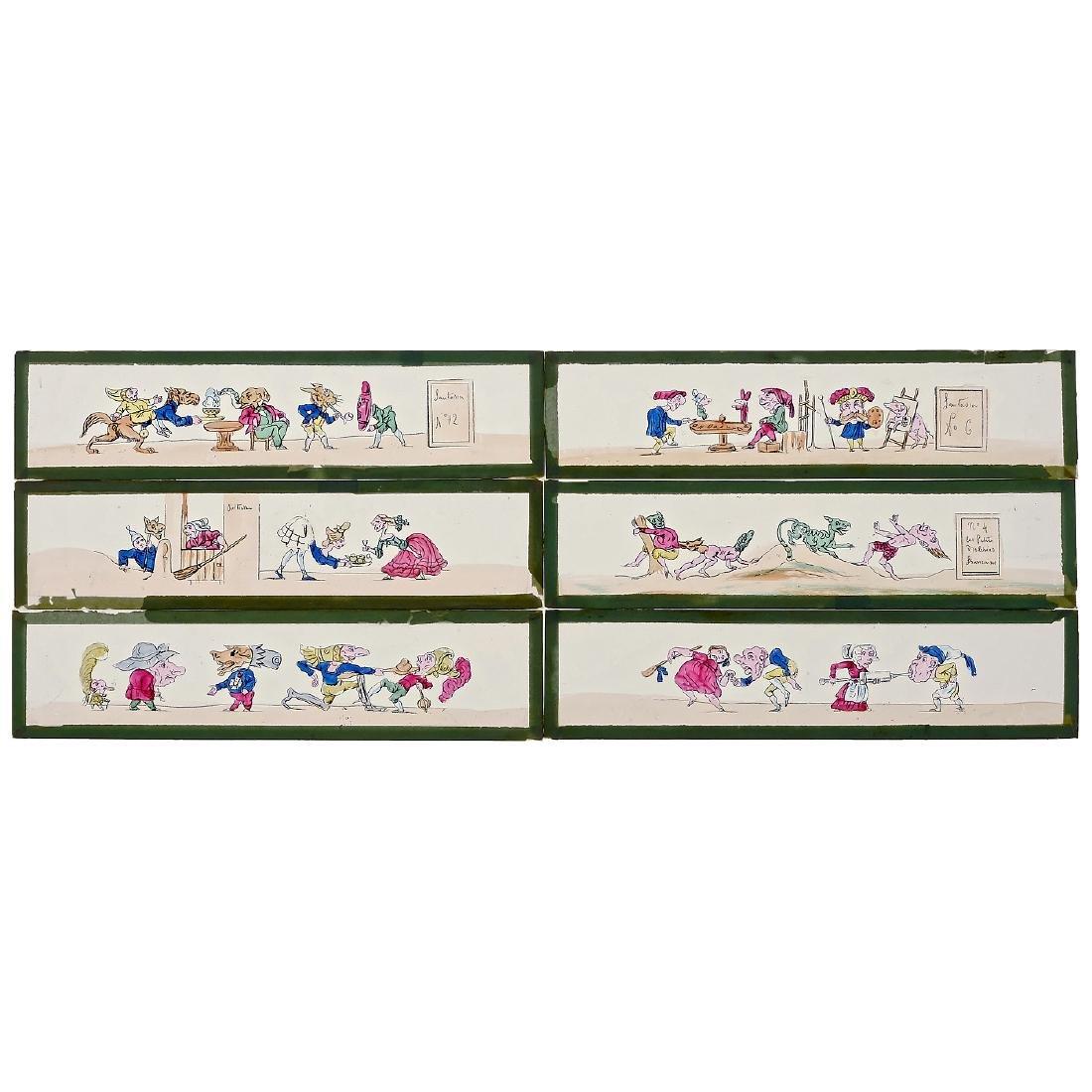 "6 ""Fantasia"" Lantern Slides of 5 x 21 cm by Lapierre,"