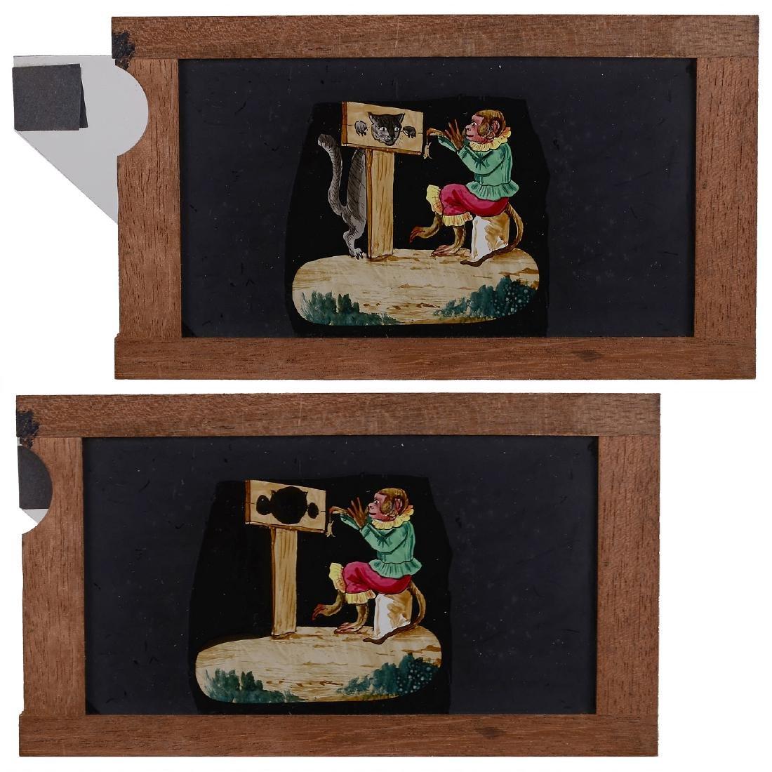 3 Mechanical Magic Lantern Slides of Monkeys - 2