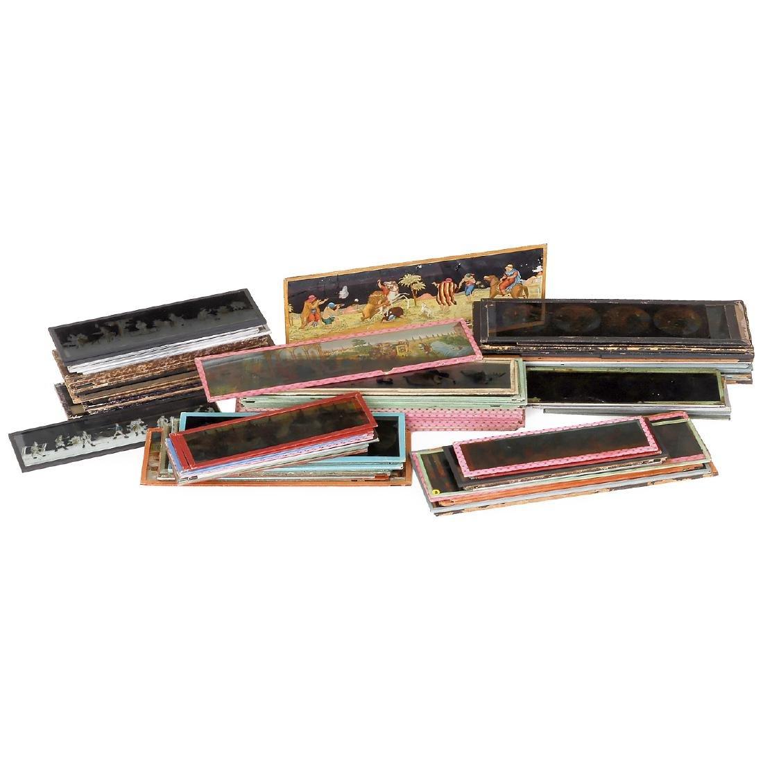 5 Boxes with Magic Lantern Panoramic Slides, c.