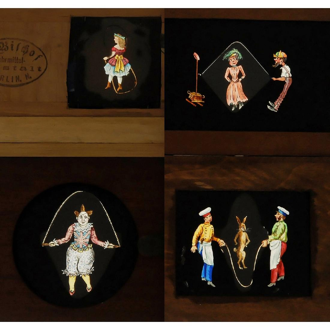 4 Magic Lantern Skipping Slides, c. 1870-80 - 2