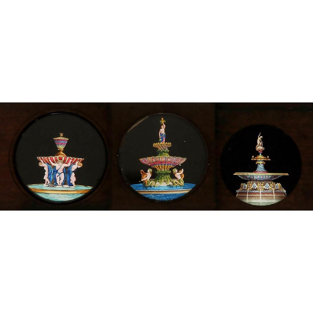 3 Magic Lantern Fountain Slides, c. 1860