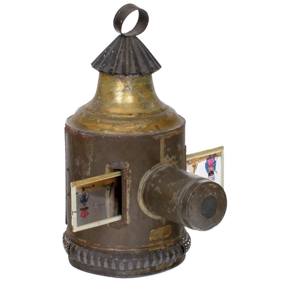Rare Round Brass Magic Lantern by Aubert, c. 1880