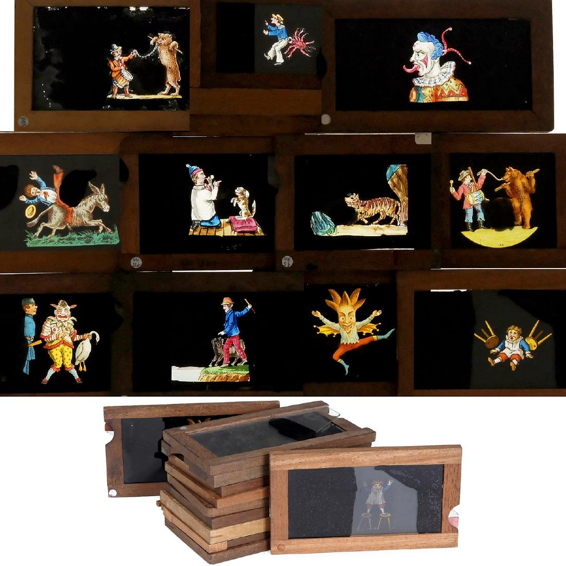 11 Magic Lantern Single Rackwork Comic Slides, c. 1880
