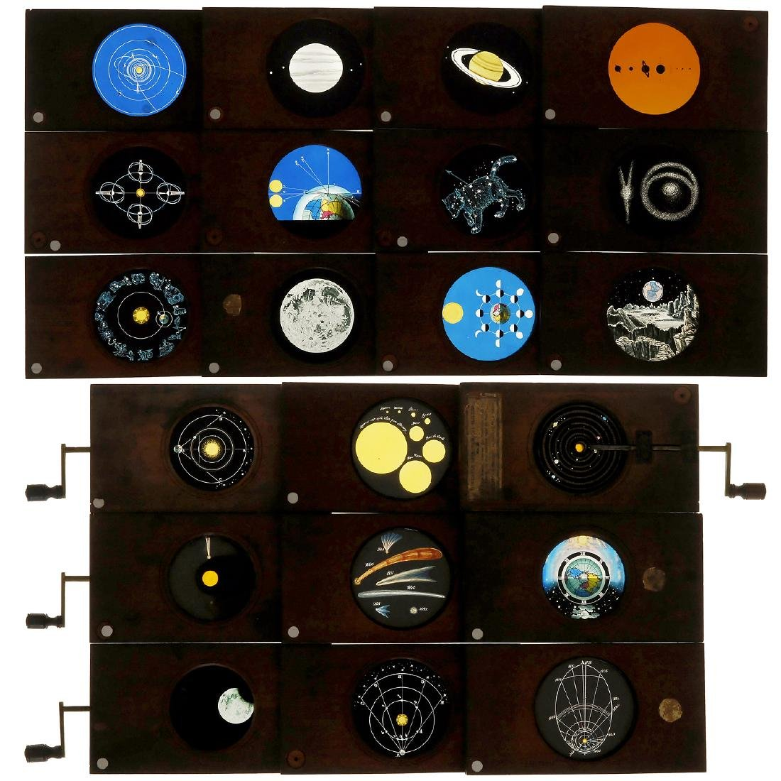 "21 Hand-Painted ""Astronomical"" Magic Lantern Slides"