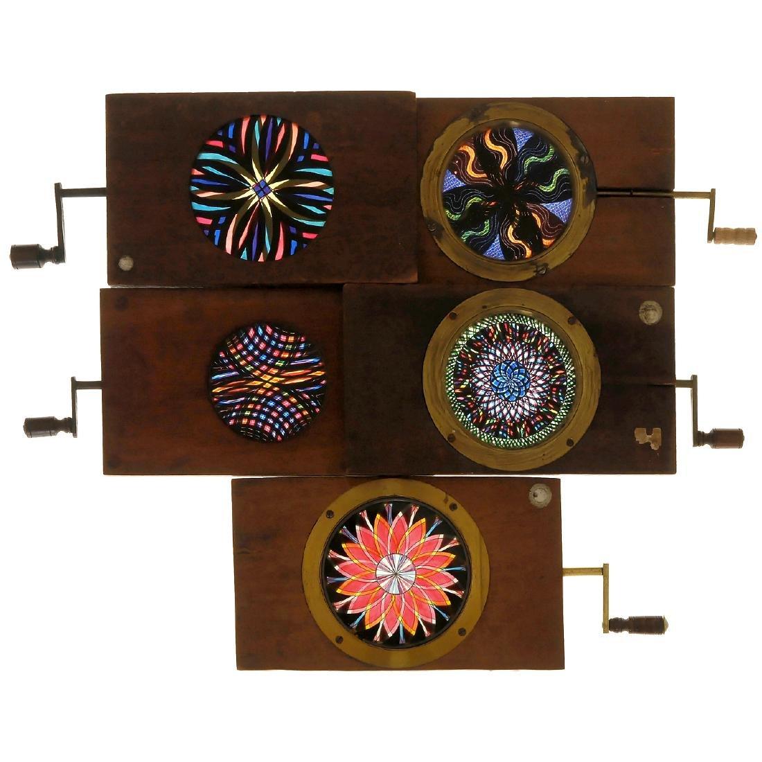 5 Magic Lantern Chromatropes, approx. 4 x 6 ½ in., c.