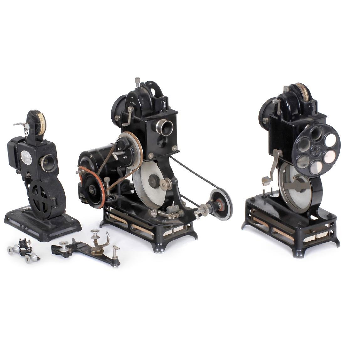 3 Movie Projectors for 9,5mm Film, c. 1924