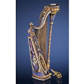 Exceptional 18-Carat Gold and Enamel Musical Harp