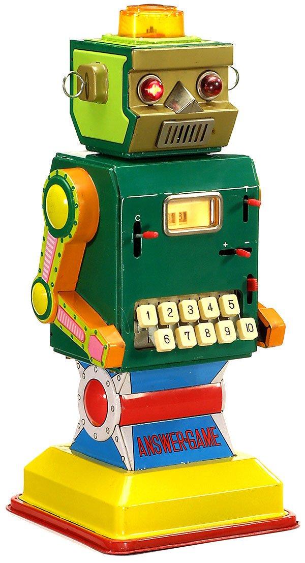 21: Tin Toy Rechen Robot er Answer-Game, um 1963