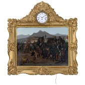 Austrian Musical Picture Clock Depicting the Surrender