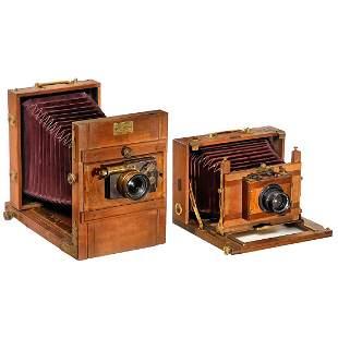 2 Field Cameras of 13 x 18 cm, c. 1900