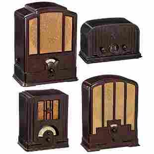4 Telefunken Radio Receivers in Bakelite Cases