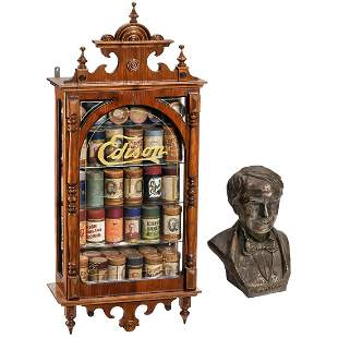 Display Cabinet with 90 Phonograph Cylinders and an