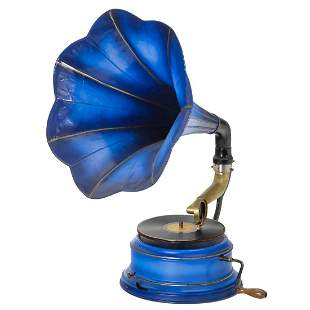 Rare Horn Gramophone with Round Metal Case, c. 1914