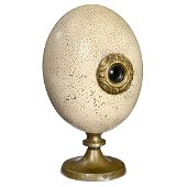 """Ostrich """"Peep Egg"""" with Erotic Photograph, c. 1900"""