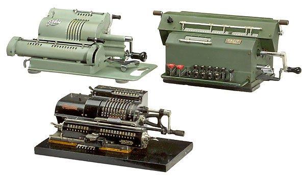 """2: 3 Calculators """"Triumphator Mod. C"""" """"Facit"""" """"Rokli"""""""