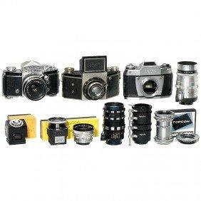 3 Exakta Cameras, Lenses And Accessories