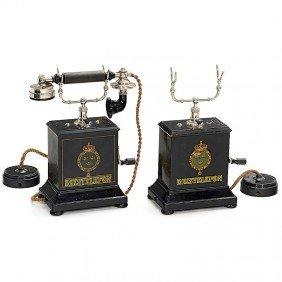 """2 Swedish Table Telephones """"Rikstelefon"""", C. 1894"""