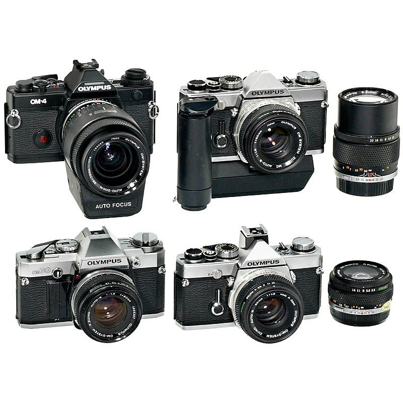 174: 4 Olympus OM Cameras and Lenses