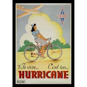"""Bicycle Advertising Poster """"Hurricane"""", C. 1930"""