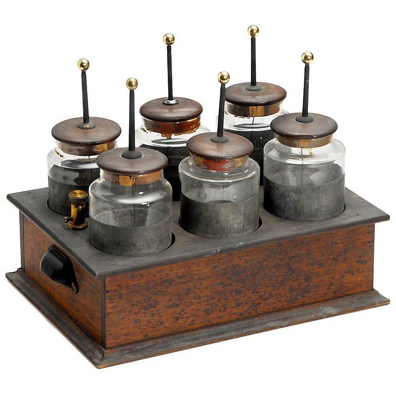310: Battery of 6 Leiden Jars, c. 1900