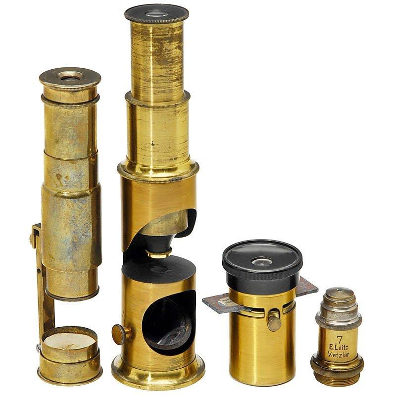 319: 3 simple Microscopes, c. 1900