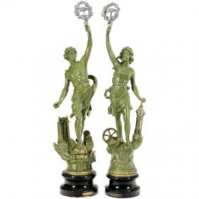 """22: Pair of Statuettes """"The Telephone"""" and """"The Telegra"""