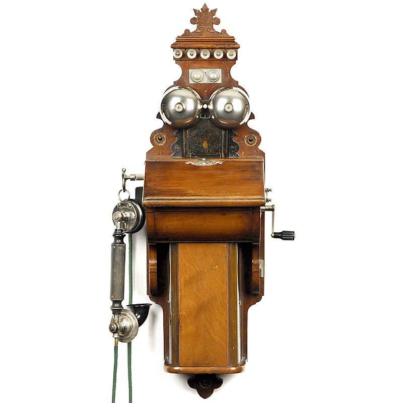 """23: Danish Wall Telephone by """"Emil Møller"""", c. 1910"""
