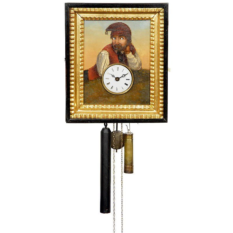 """Black Forest Wall Clock with """"Moving Eyes"""", c. 186"""