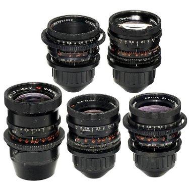 5 Zeiss Lenses with Arriflex PL Mount, c  1970