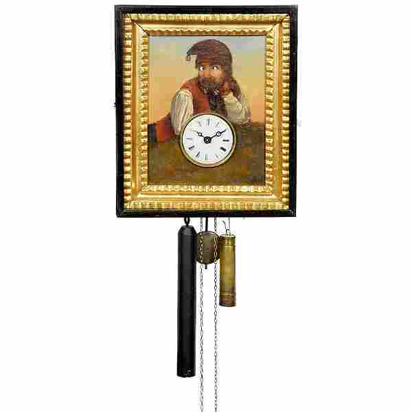 """Black Forest Wall Clock with """"Moving Eyes"""", c. 1860"""