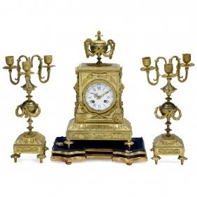 Three-piece Gilt-bronze Clock Garniture, C. 1880