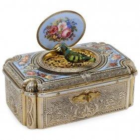Fine Silver-gilt And Enamel Singing Bird Box Automaton