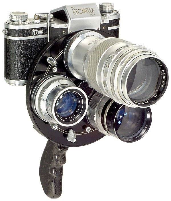 107: Italian Rectaflex Rotor Gun Camera, 3 lenses, 1952