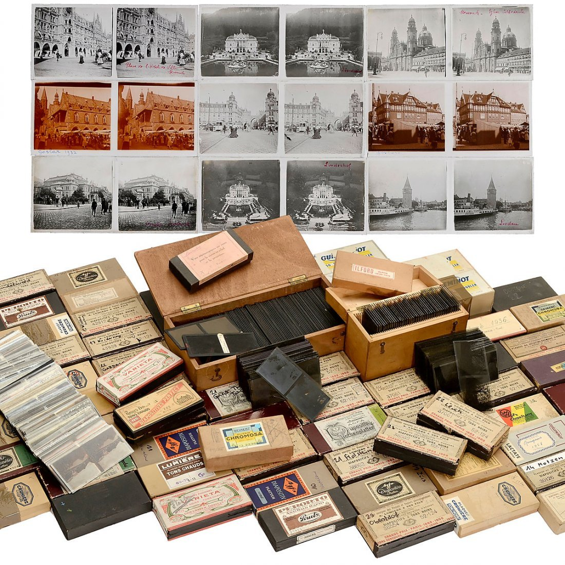 Large Collection of Stereo Glass Slides 6 x 13 cm