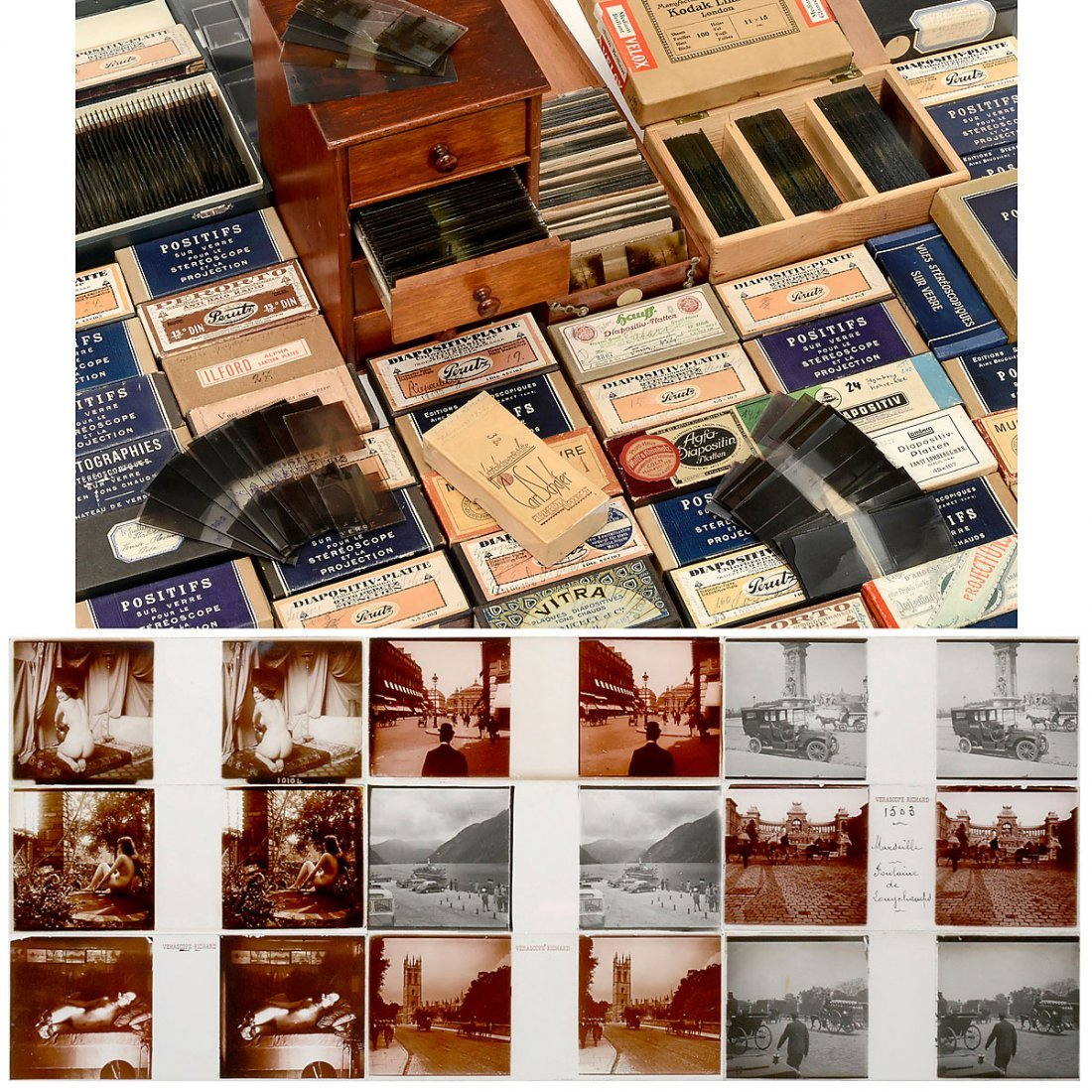 Approx. 900 Stereo Glass Slides (45 x 107 mm), 1910