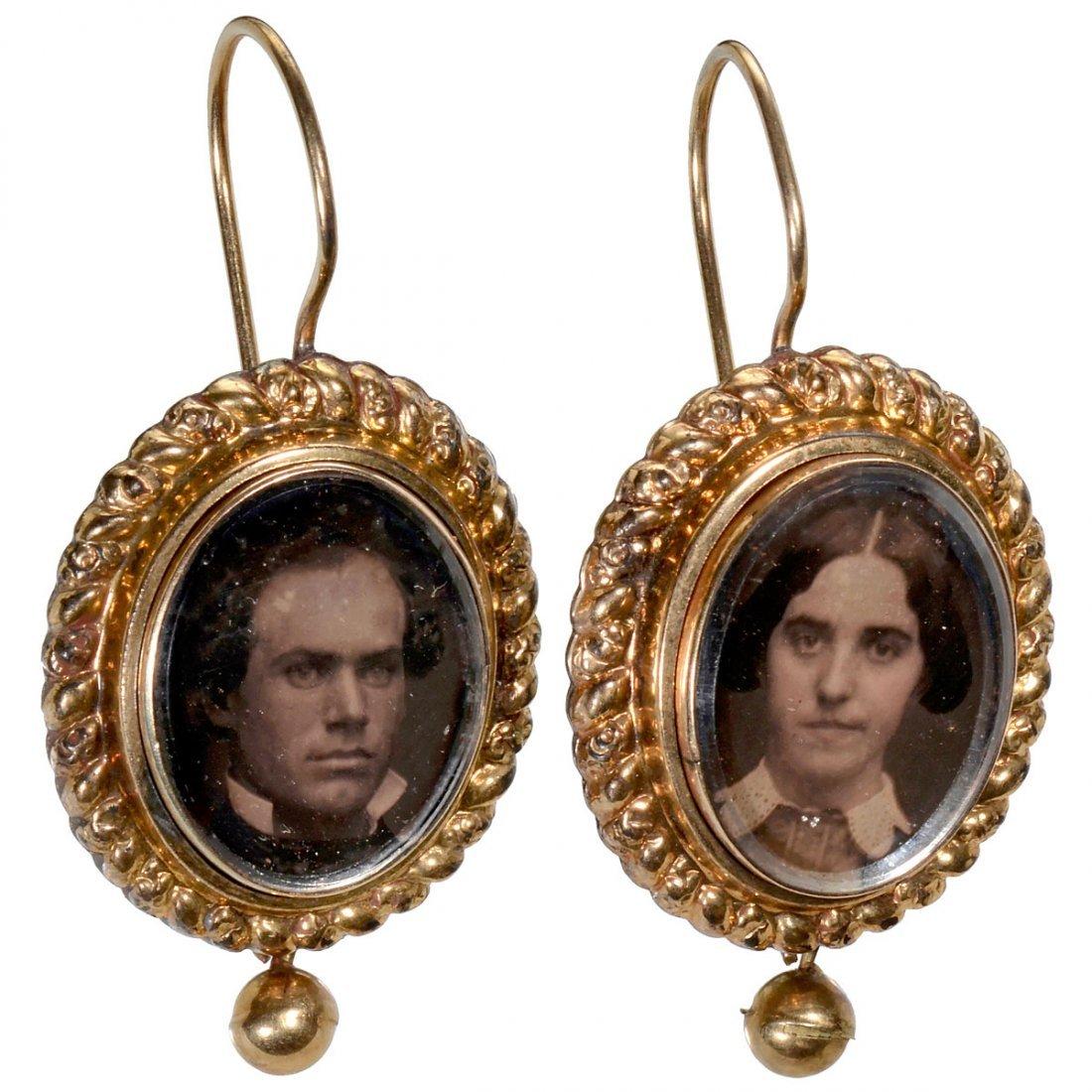 Earrings with Daguerreotypes, c. 1850