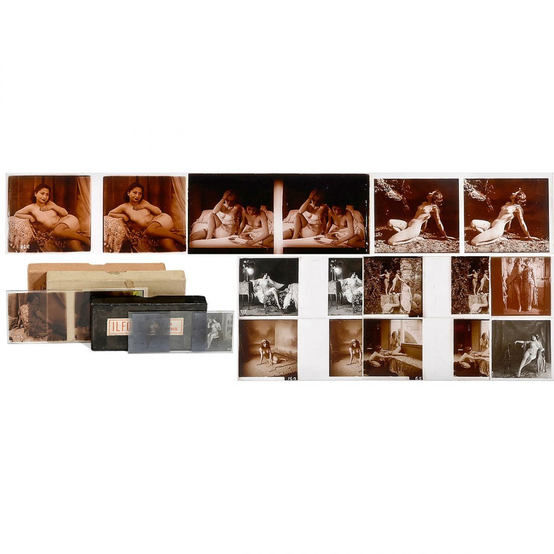 36 Erotic Glass Stereo Images, c. 1920