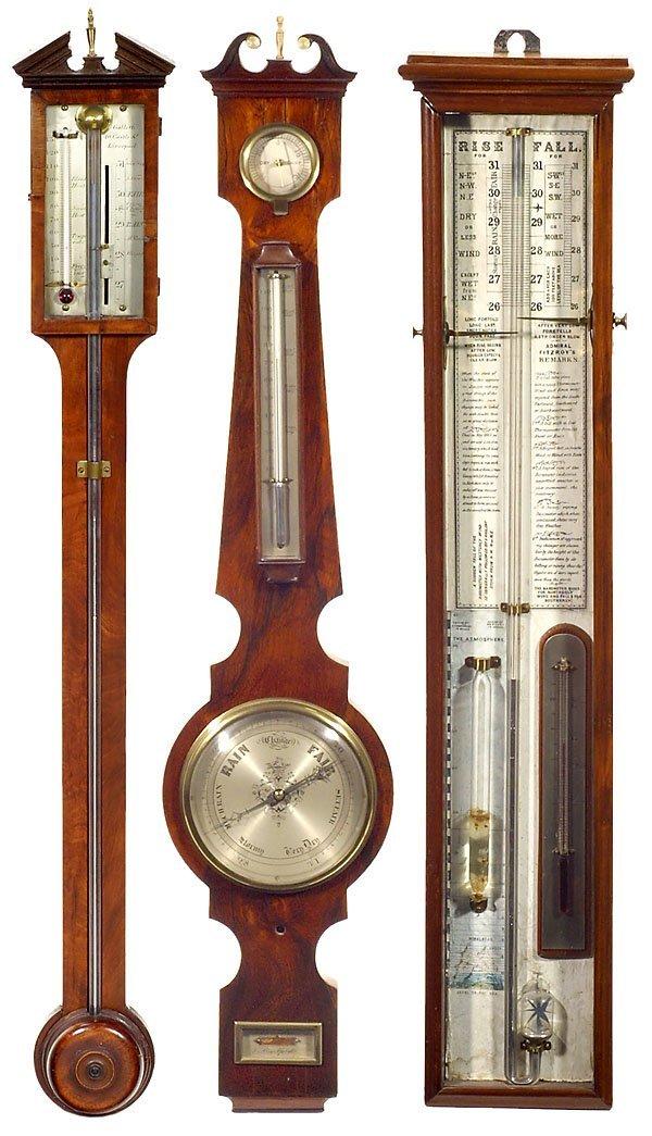 171: 3 Early English Wall Barometers, c. 1860-1880