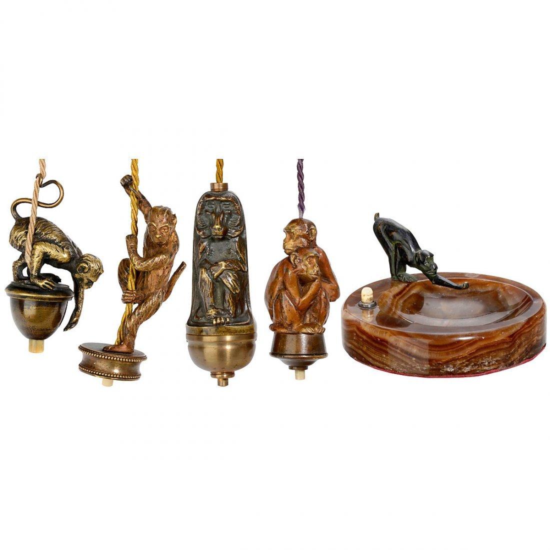 5 Electrical Table Bells Depicting Monkeys, c. 1910