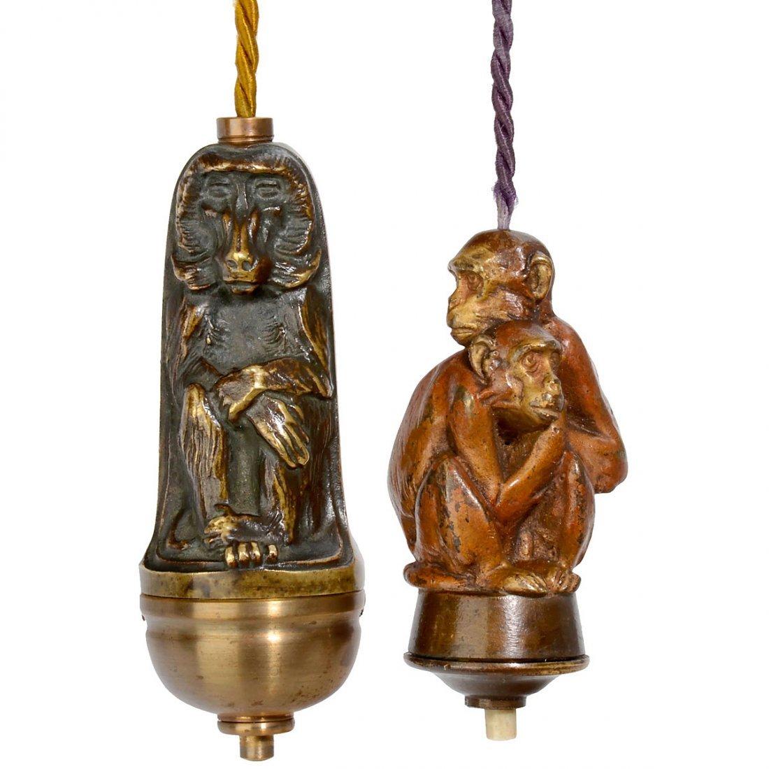 5 Electrical Table Bells Depicting Monkeys, c. 1910 - 2
