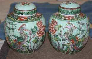 Antique Chinese Early 20th Century Famille Verte Ginger